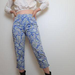 Vintage 90s blue paisley print crop pants 8